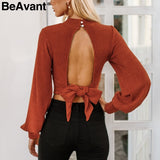 BeAvant Sexy backless Knitted Long Sleeve Crop Top Shirt