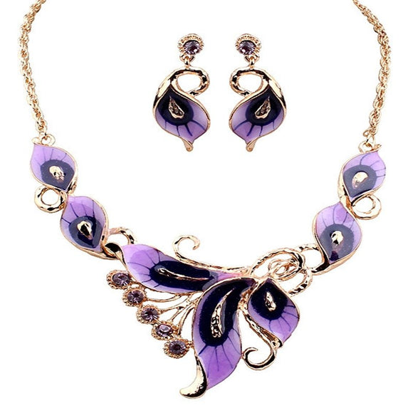 High Quality Women Ladies Wedding Party Butterfly Earrings Necklace Jewelry Set