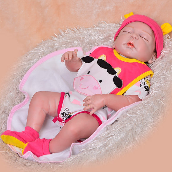 Lifelike 23 Inch Reborn Baby Doll With Closed Eyes