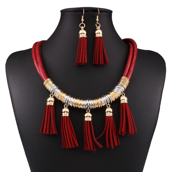 Fashion African Leather Tassel Necklace and Earring Jewelry Set