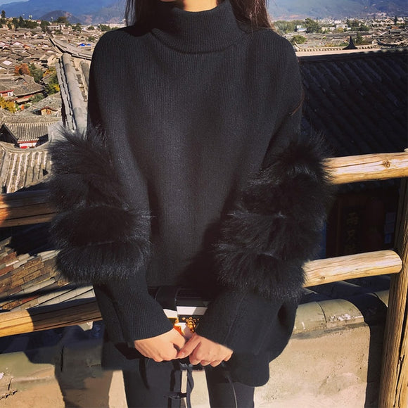 Fluffy Women Oversized Turtleneck Fur Sweater
