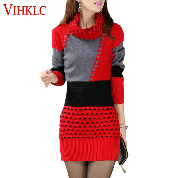 New Fashion Women Winter Dress Turtleneck Long Sleeve Knitted Sweater Dress