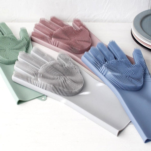 2 in 1 Multipurpose Magic Silicone Rubber Dish Washing Gloves