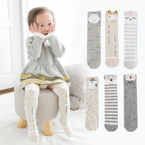 3Pcs/Set Cotton Cute Cartoon Baby Knee High Long Socks