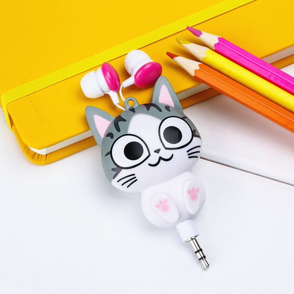 Cute Kawaii Cat Bear Panda Cartoon Retractable Earphone for Samsung Xiaomi Huawei OPPO for IPhone 5 5s 6 6s 7 plus MP3 MP4 Gift
