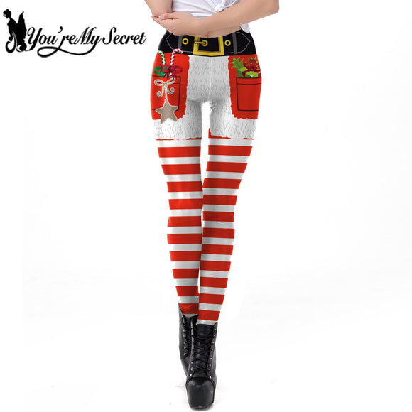 [You're My Secret] Christmas Sexy Women's New Design Elastic Winter Striped Leggings Ankle-Length Pants