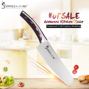 "SOWOLL Brand 4cr14mov Stainless Steel Blade Single 6"" Chef Knife Resin Fibre Handle Kitchen Knife Unique Design Cooking Tools"