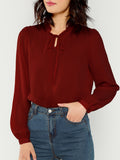 Ruffle Trim Tie Neck Top