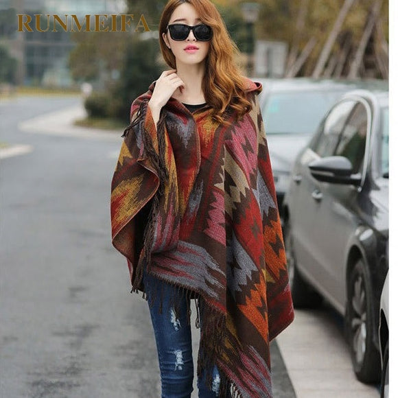Women Winter Bohemian Hooded Coat Cape Wrap Poncho Shawl Scarf