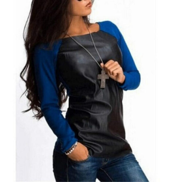 Long Sleeve PU Leather Patchwork Fashion Casual Loose Blouse
