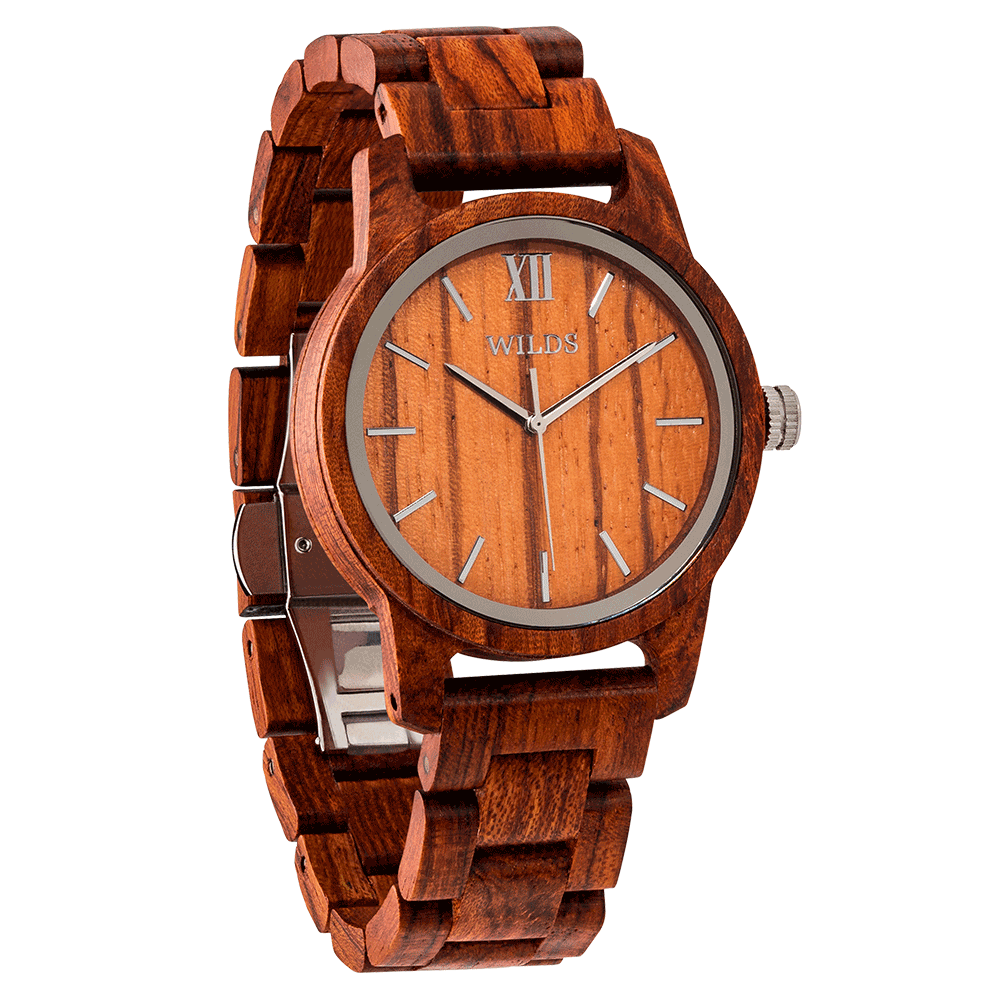 Men's Handmade Engraved Kosso Wooden Timepiece - Personal Message on