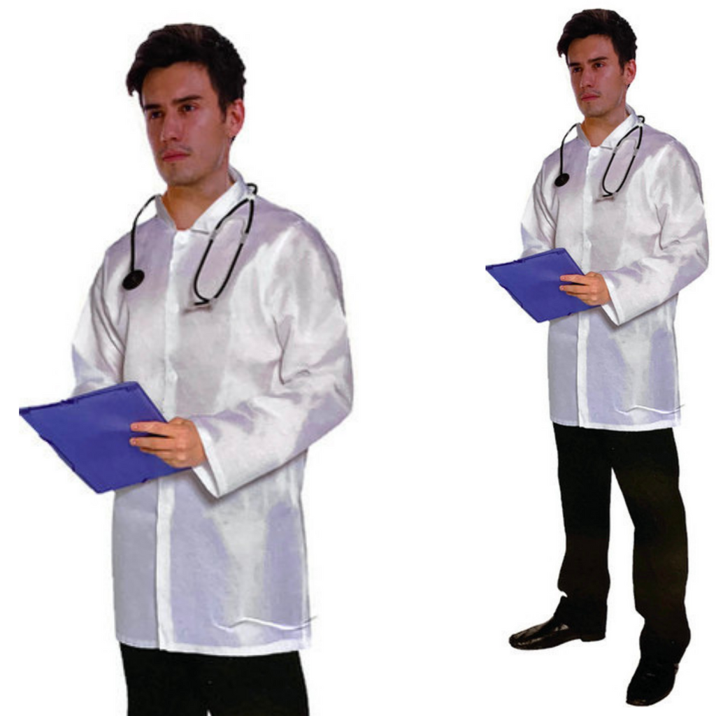 Mens Doctor Costume Dr Adult Halloween Hospital Medical Surgeon Lab Coat Outfit