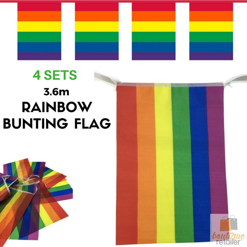 4x 3.6m RAINBOW BUNTING FLAG Party Banner Stall Flags Decor Gay Pride LGBT BULK