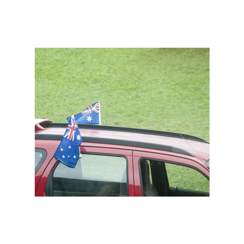 2x AUSTRALIA CAR FLAG with Window Clip Flags Australia Day 30cm x 45cm
