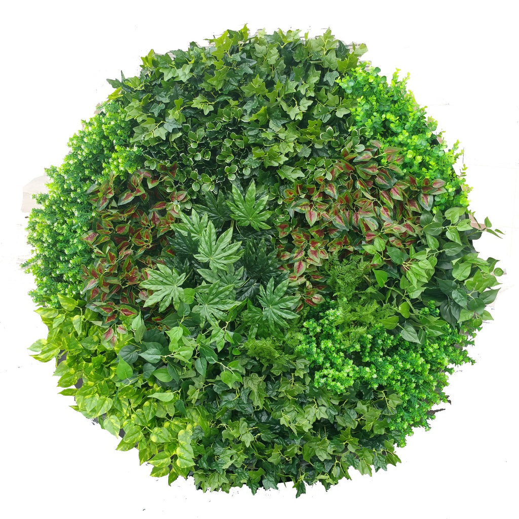 Artificial Green Wall Disk Art 150cm - Dense Green Sensation - White Frame