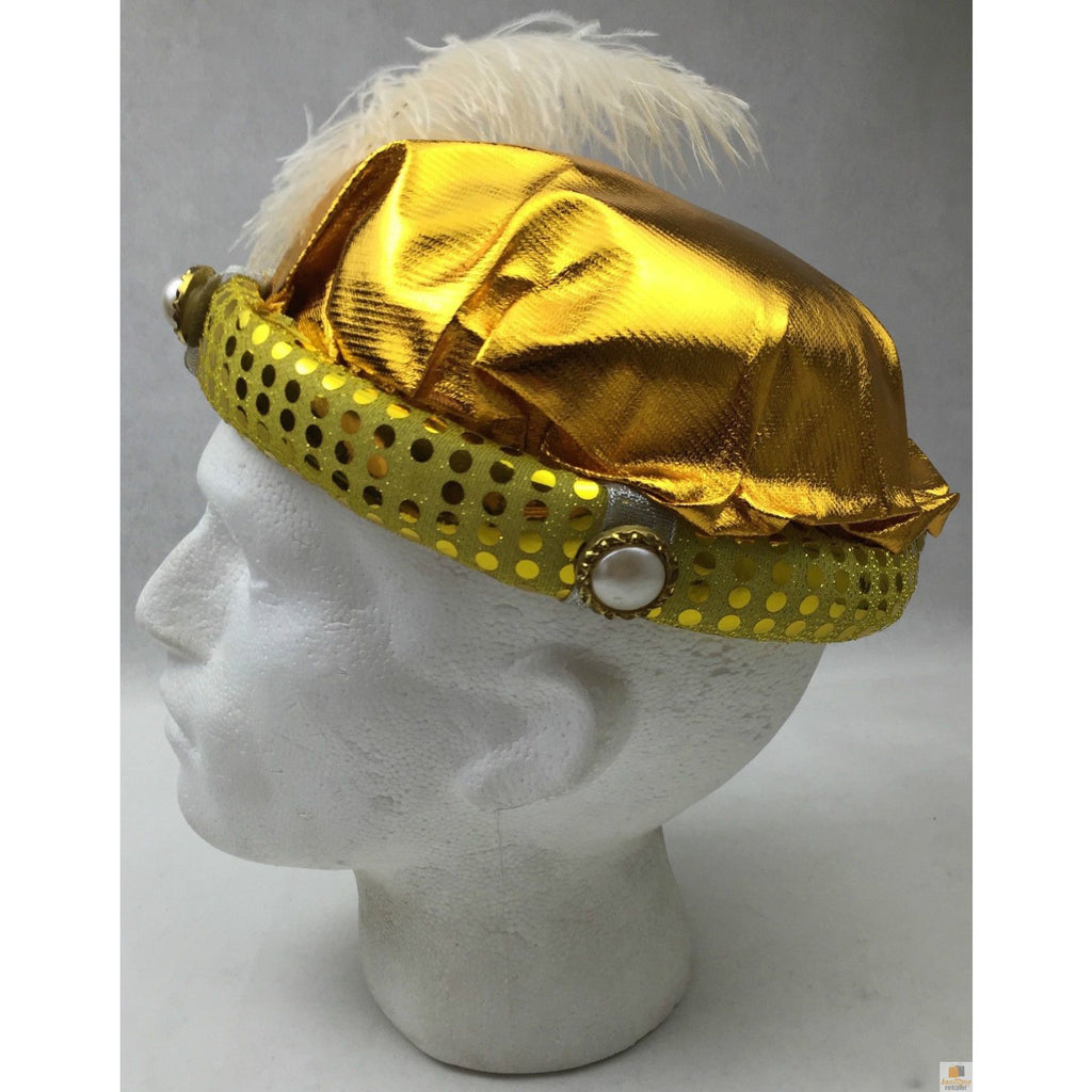 ARABIAN KING HAT Costume Cap Aladdin Feather Prince Halloween Egyptian - Gold