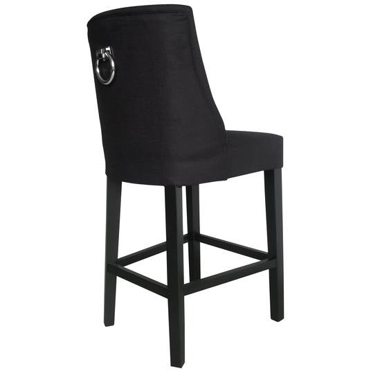 Cordelia Barstool Black with chrome ring