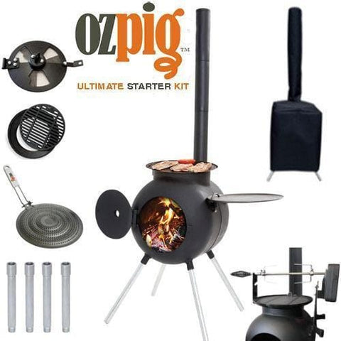 Ozpig Ultimate Kit - Wood Fired Portable Camp Outdoor Barbecue BBQ