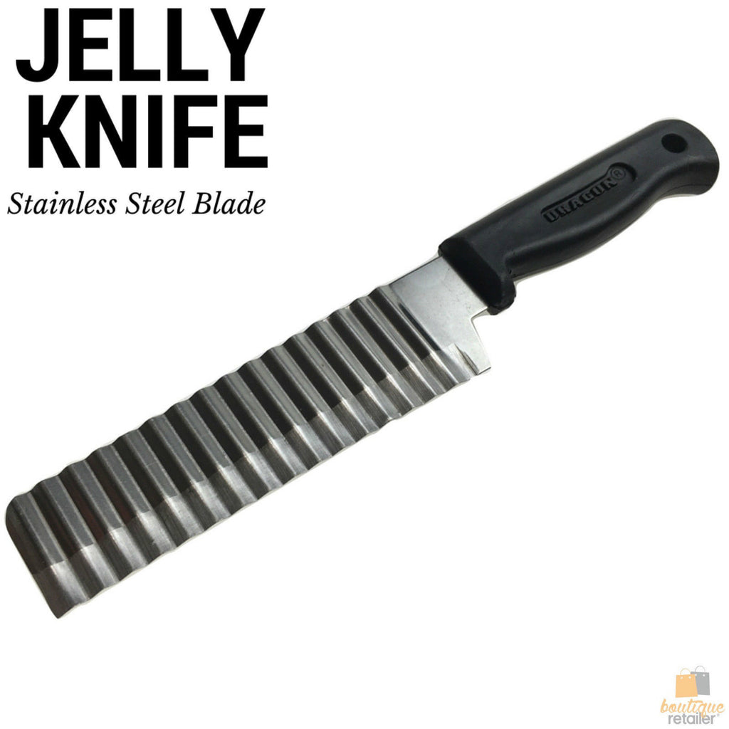 JELLY KNIFE Stainless Steel Blade Potato Vegetable Crinkle Wavy Cutter Slicer