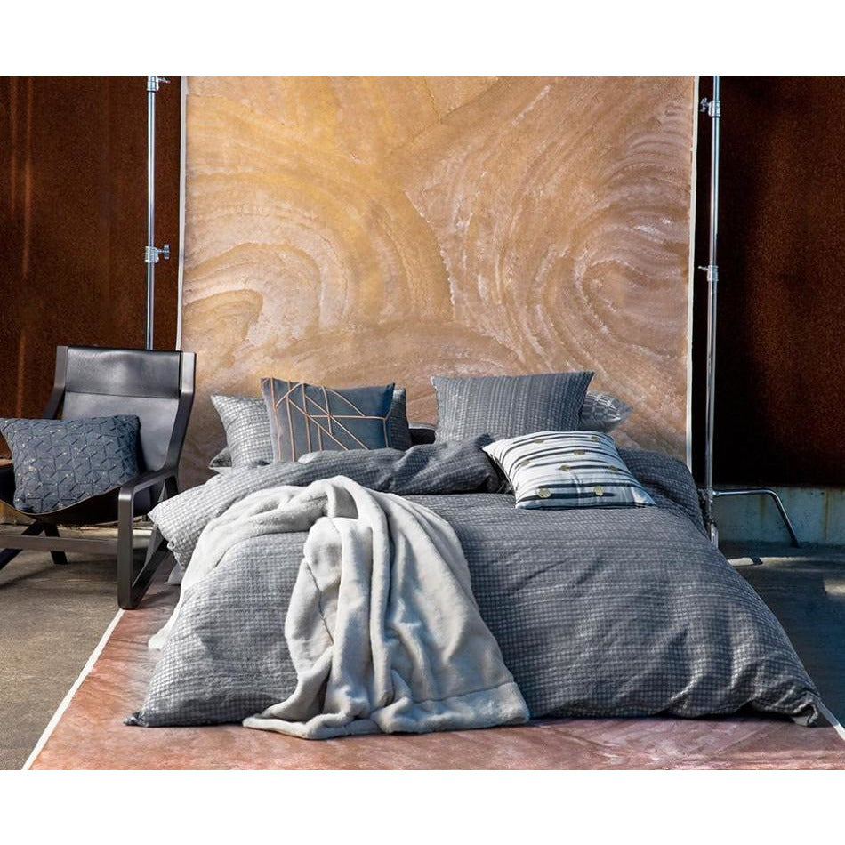Anwar Charcoal King Quilt Cover Set + 1 European Pillowcase by Kas