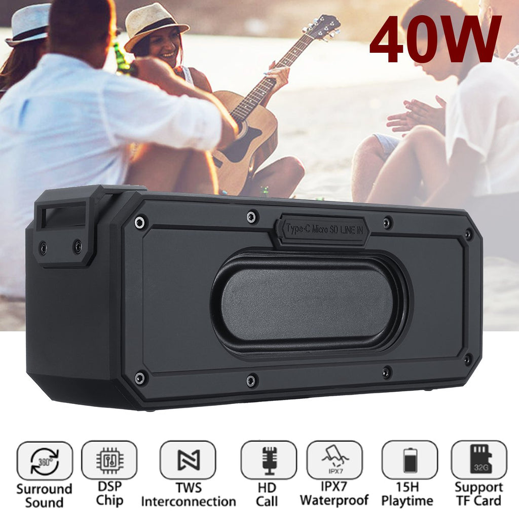 40W Wireless Bluetooth Speaker TWS Function TF Card Stereo 6600mAh IPX7 Waterproof Bass Subwoofer with Mic