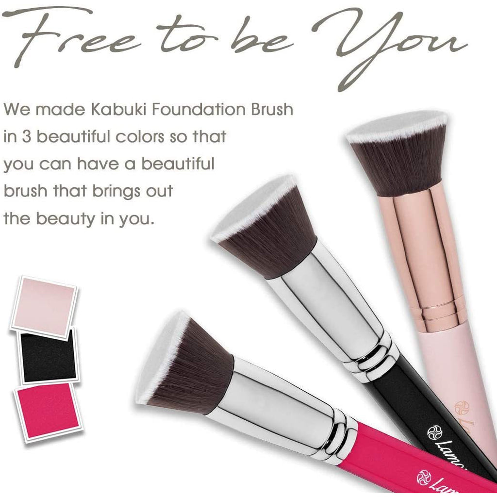 Foundation Makeup Brush Flat Top Kabuki for Face - Perfect For Blending Liquid, Cream or Flawless Powder Cosmetics - Buffing, Stippling, Concealer - Premium Quality Synthetic Dense Bristles