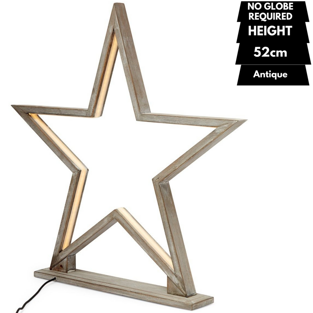 52cm Large Bamboo Star LED Table Lamp Light Modern Bedside - Antique Timber
