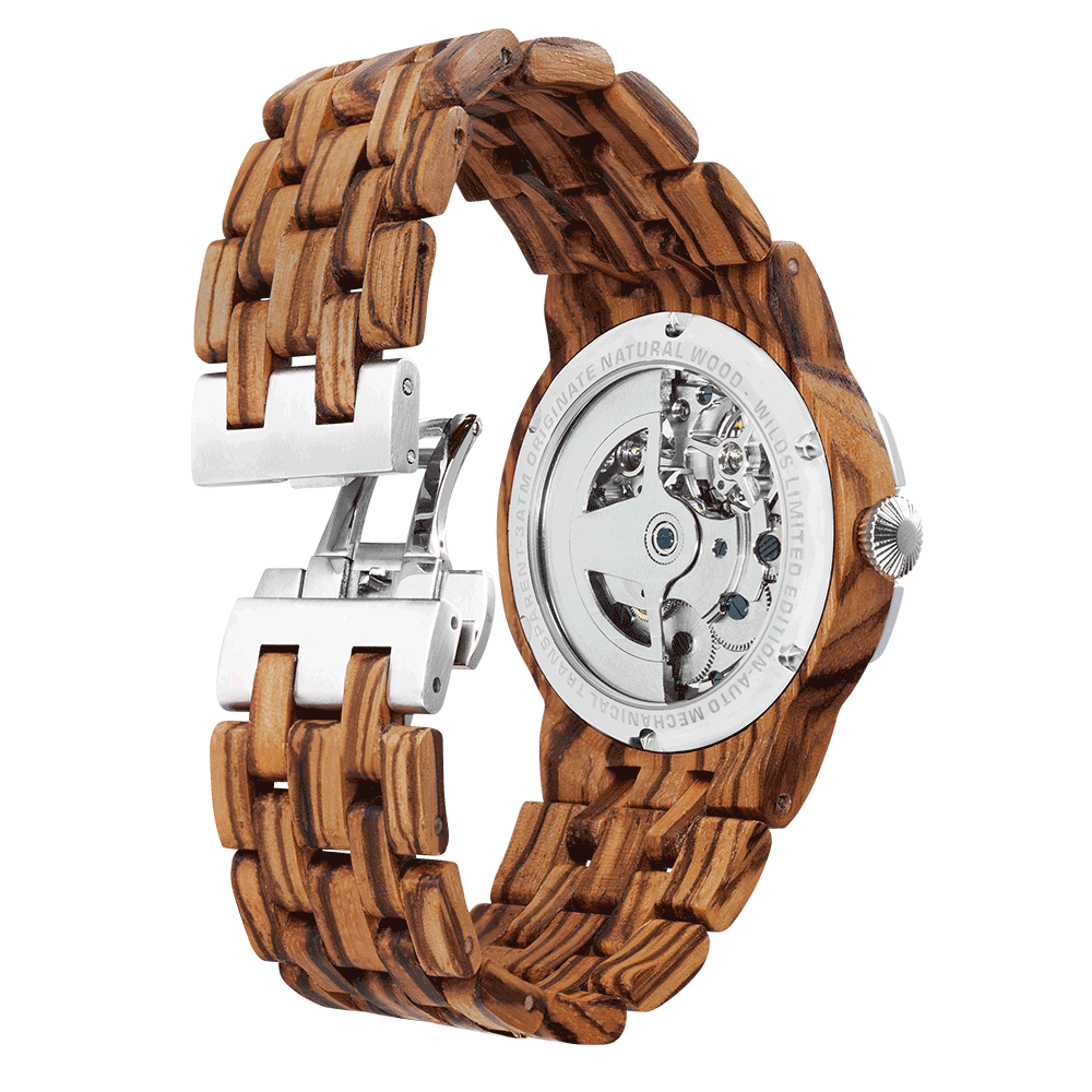 Men's Dual Wheel Automatic Zebra Wood Wrist Watch