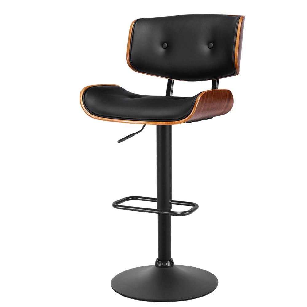 Artiss Kitchen Bar Stool Gas Lift Stool Chairs Swivel Barstool PU Leather Black x1
