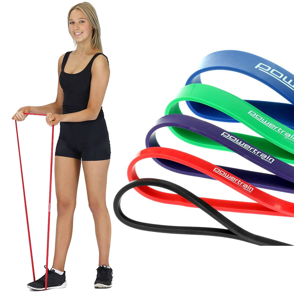 5x Powertrain Gym Exercise Power Resistance Bands