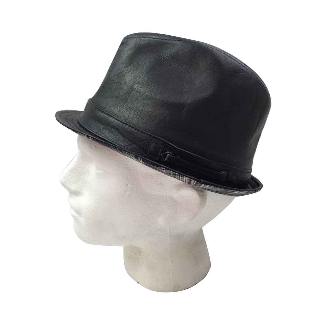 GENUINE LEATHER TRILBY Fedora Hat Classic Vintage Cap Winter Stingy Brim New