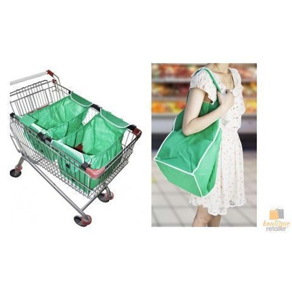 2x Clip To Trolley Shop Smart Bag Groceries Reusable Enviro Expandable Shopping