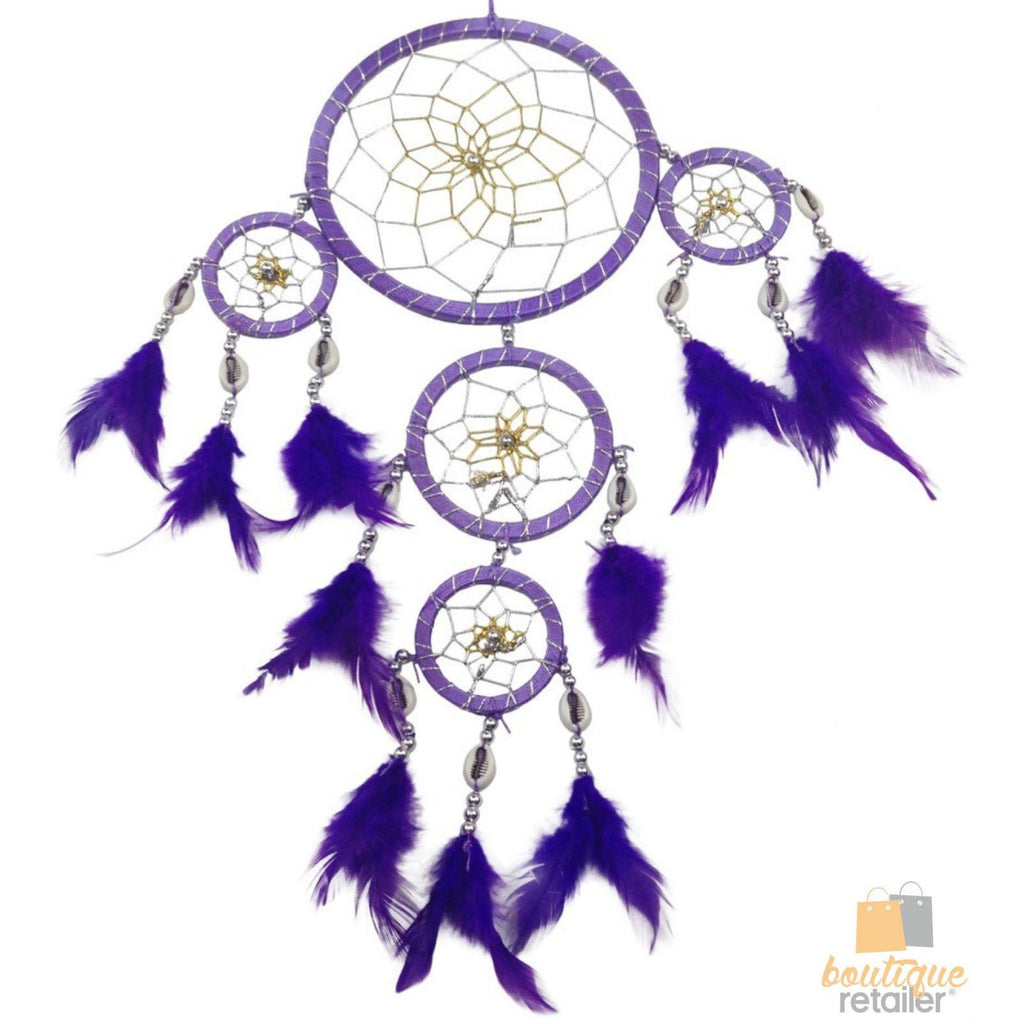 DREAM CATCHER Ornament Beads Beautiful with Natural Feathers 45cm