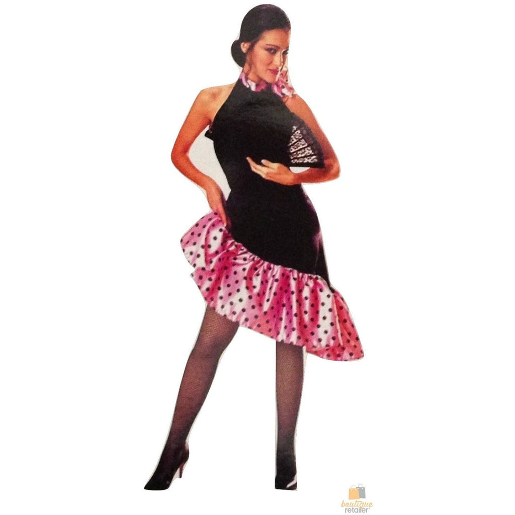 FLAMENCO DANCER COSTUME Spanish Fancy Dress Senorita Outfit Latin Party Mexican