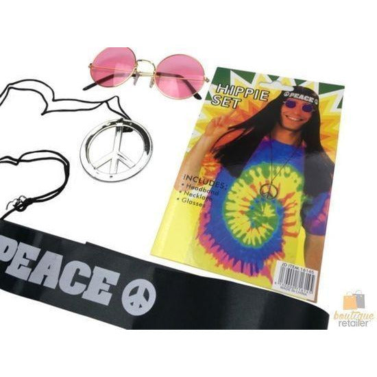 Hippie Kit Set Headband Glasses Pendant Peace Sign Necklace 60s 70s Costume New