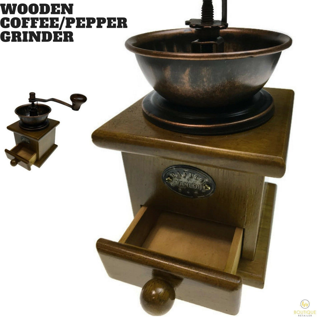 Authentic WOODEN Coffee Pepper Grinder Vintage Style Bean Mill New