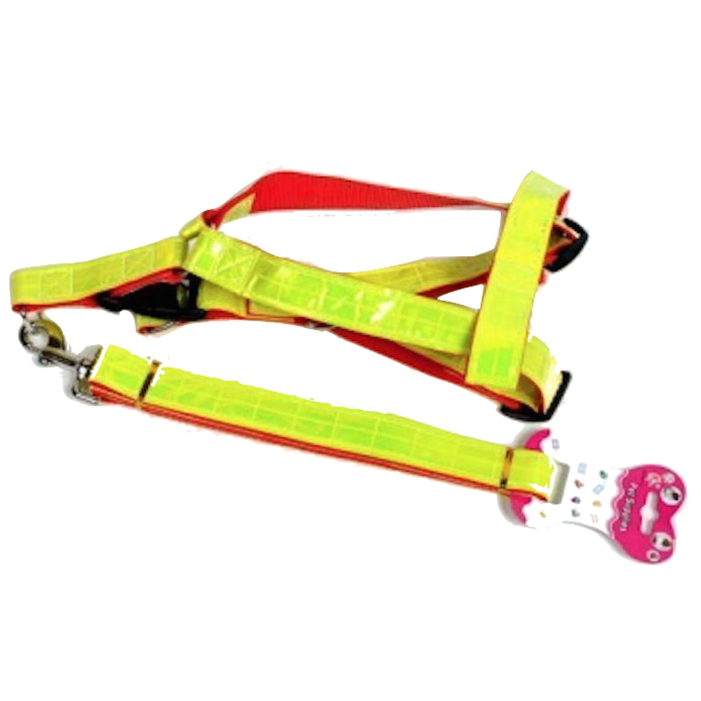 HI VIS Reflective Dog Harness Leash High Visibility Pet Safety Lead Collar New