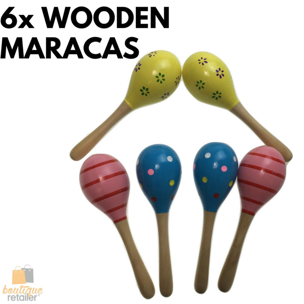 6x WOODEN MARACAS Musical Egg Percussion Toy Shakers Rattles Rumba Party BULK