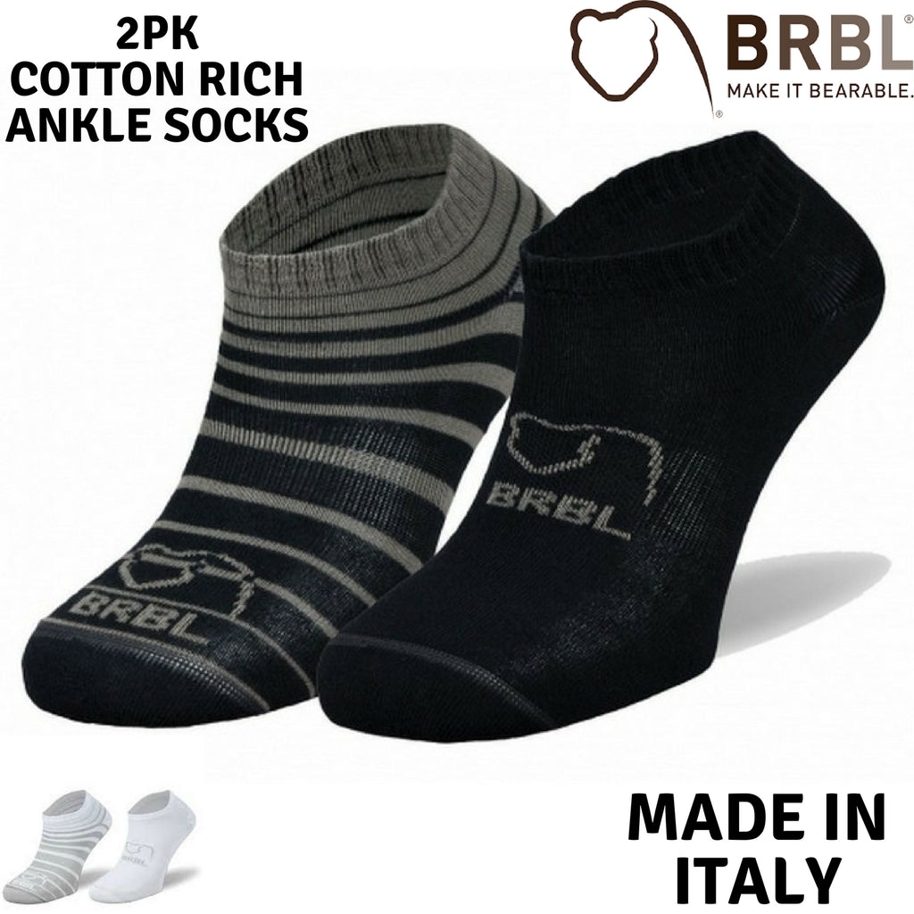 2pk BRBL Baloo Ankle Socks Cotton Rich Low Cut Running Walking MADE IN ITALY