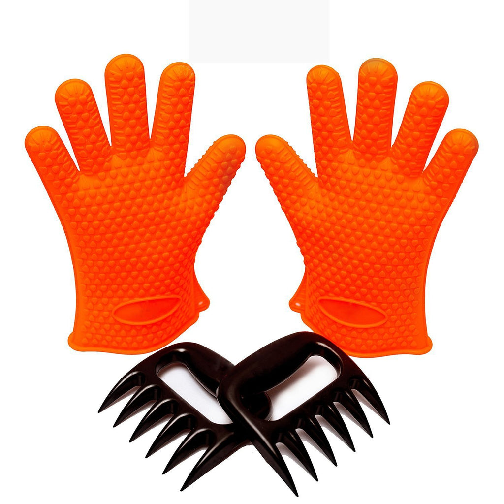 BBQ Essentials Safe Silicone Gloves + Pork Pulling Claws Kit