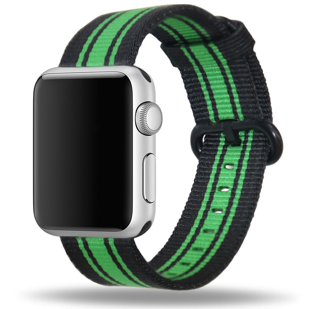 Apple Watch Strap Replacement Handmade 42mm Black Green Woven Nylon Band