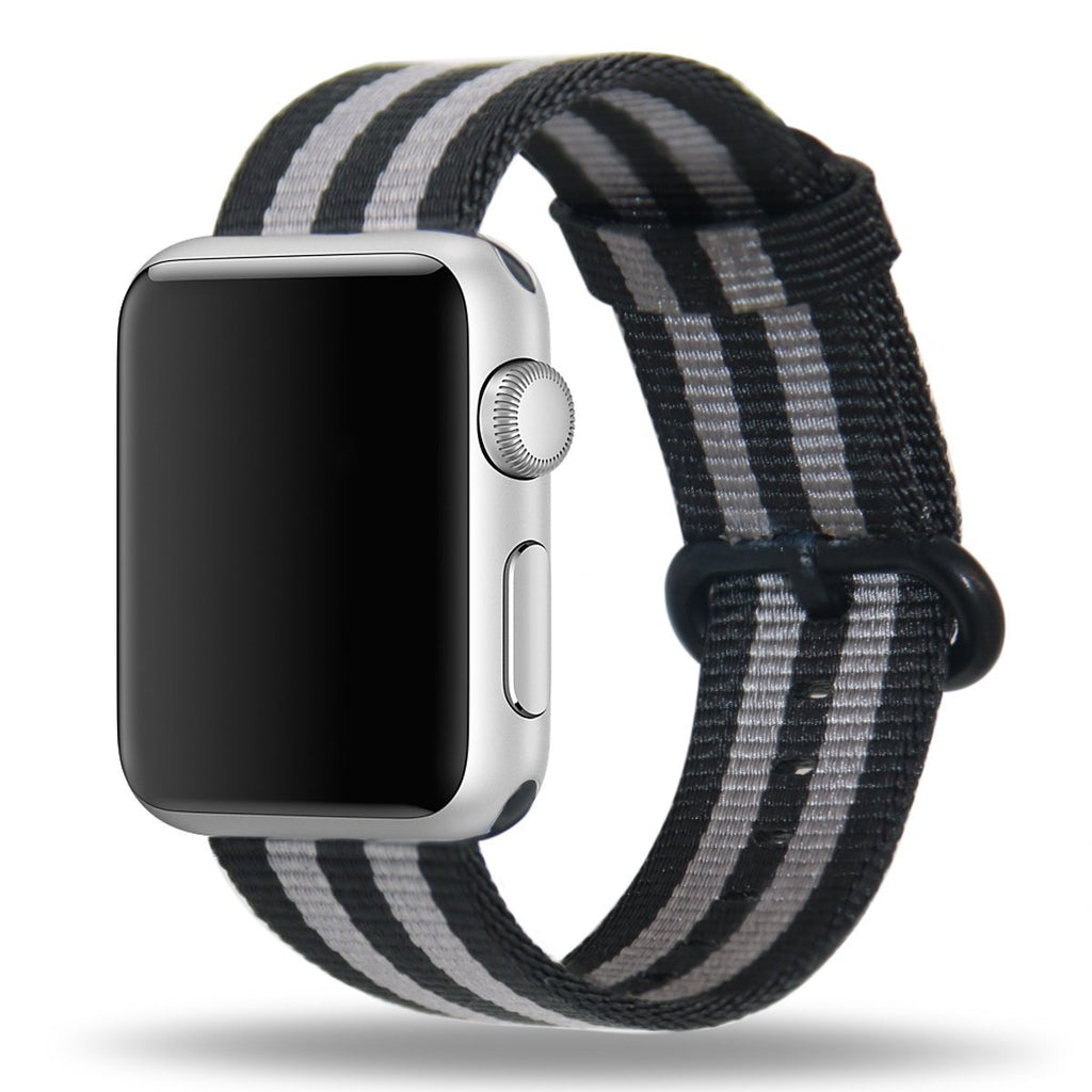 Apple Watch Strap Replacement Handmade 42mm Black Gray Woven Nylon Band