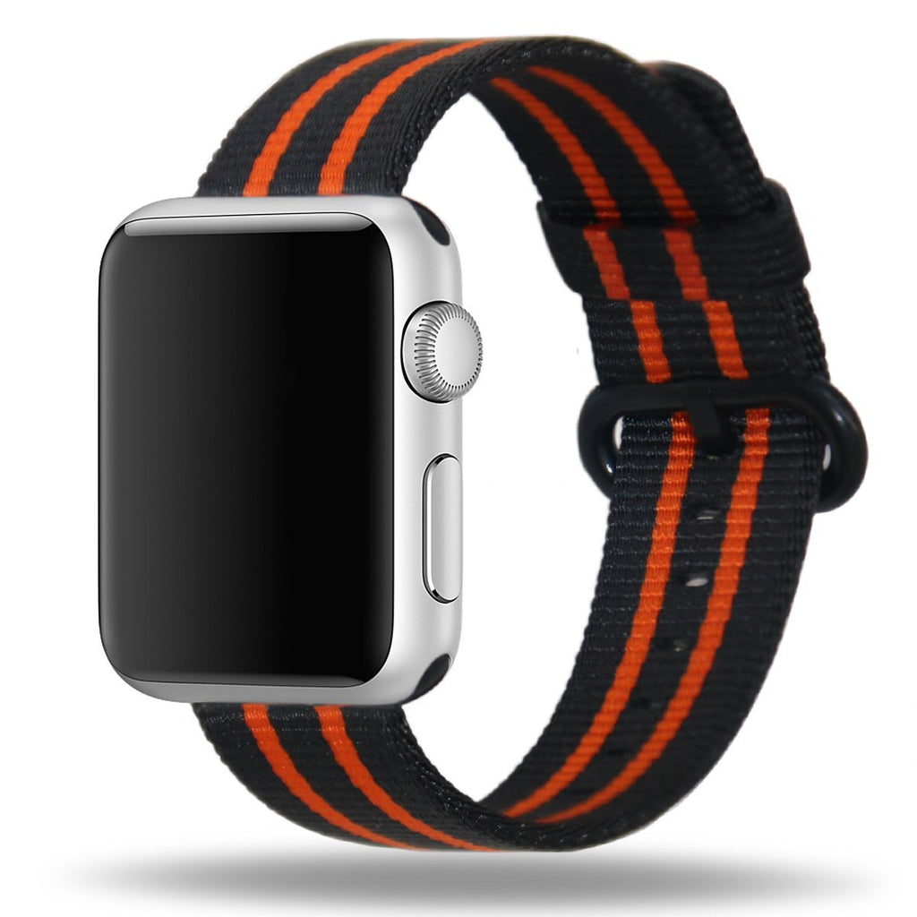 Apple Watch Strap Replacement Handmade 42mm Black Red Woven Nylon Band