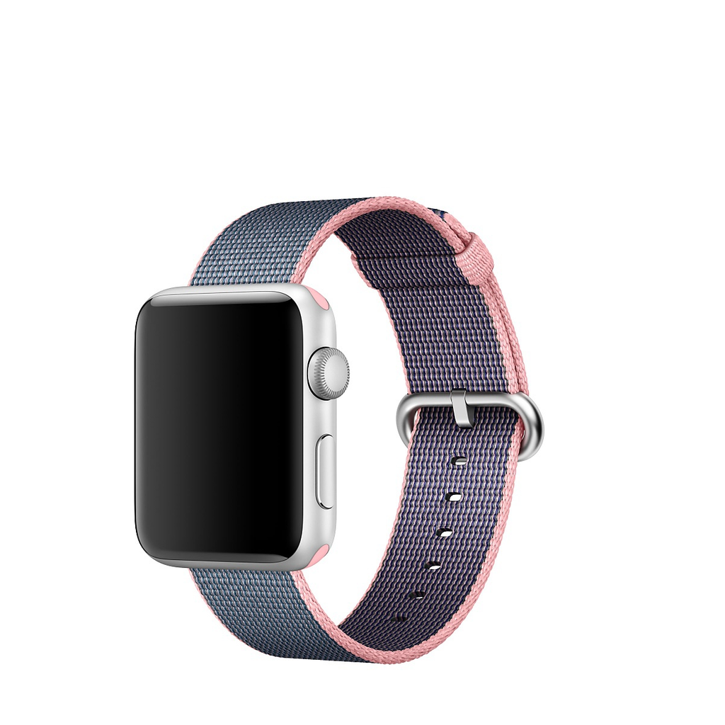 Apple Watch Strap Replacement Handmade 38mm Blue Pink Woven Nylon Band