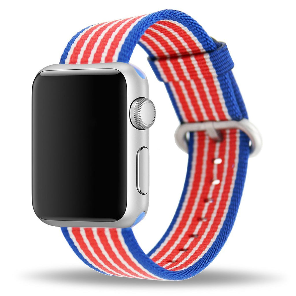 Apple Watch Strap Replacement Handmade 42mm Blue Red Woven Nylon Band