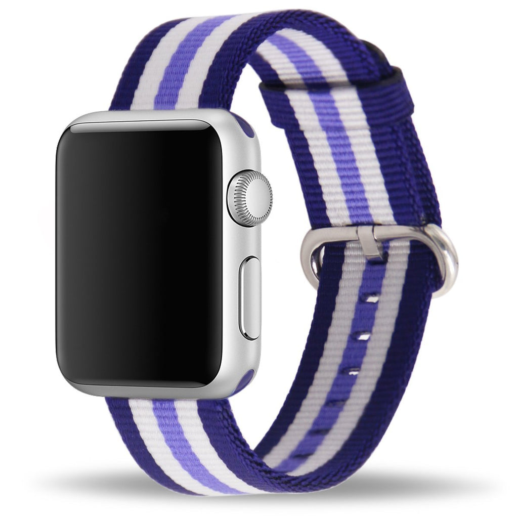 Apple Watch Strap Replacement Handmade 38mm Purple Stripe Woven Nylon Band