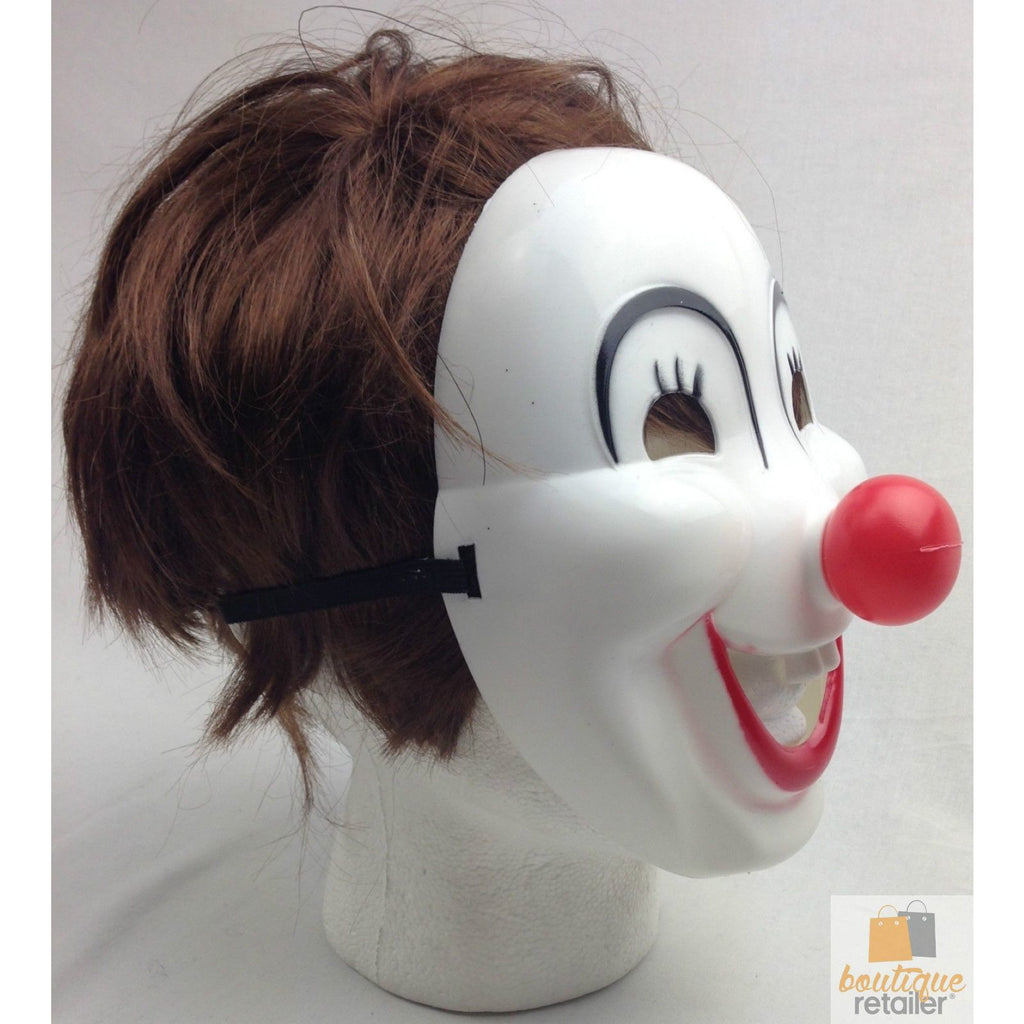 CLOWN MASK Halloween Costume Party Fancy Dress Circus Plastic Red Nose Juggler