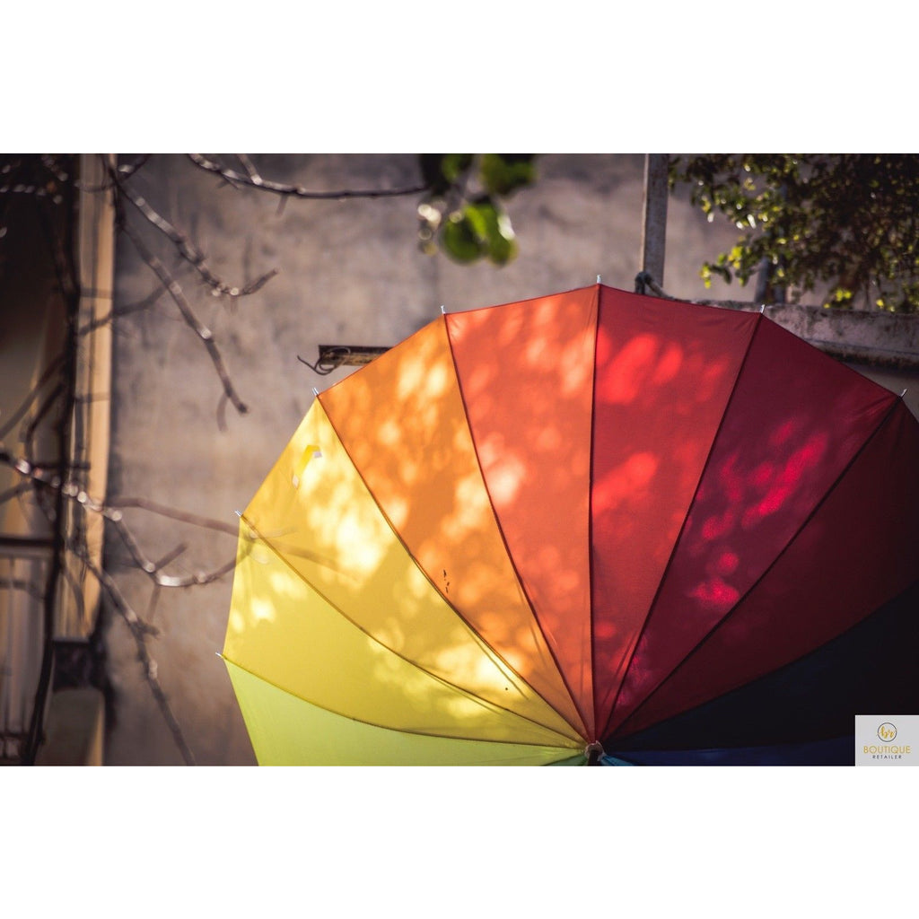 120cm Diameter RAINBOW UMBRELLA Rain Sun Colourful Parasol Long Shaft New