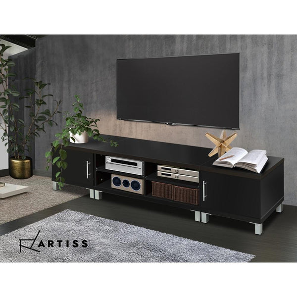 Artiss Entertainment Unit with Cabinets - Black