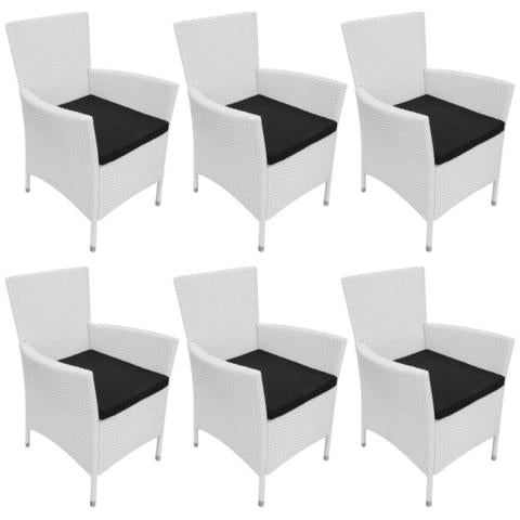 GARDEN DINING CHAIRS POLY RATTAN (6 PCS) - CREAM WHITE - Loungeout
